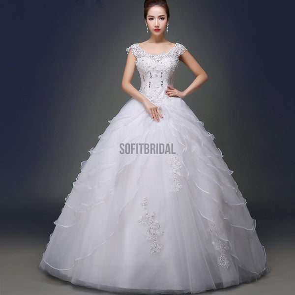 Charming Scoop Neck White Lace Beaded Ball Gown Wedding Dresses, WD0181 - SofitBridal