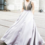 V-neck Beaded Top A-line Satin Prom Dresses, Popular Evening Dress, Cheap Long Prom Dresses, PD0308
