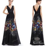 V-neck Black Chiffon Printed Floral A-line Prom Dresses, Formal Evening Gown, PD0329