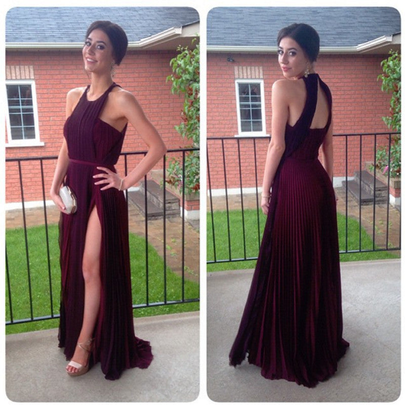 Elegant Long A-line Simple Design Side Slit Long Prom Dresses, PD0292