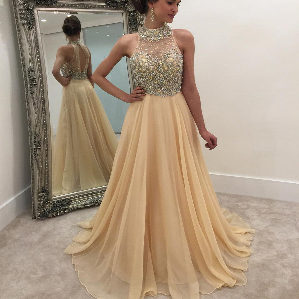 bbc0a03bee8 2019 High Neck Rhinestone Open Back Long A-line Prom Dresses