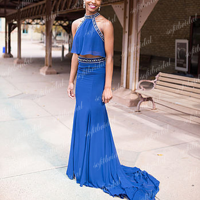 2 pieces Halter Royal Blue Rhinestone Mermaid Long Prom Dresses, Evening Dresses, PD0327 - SofitBridal