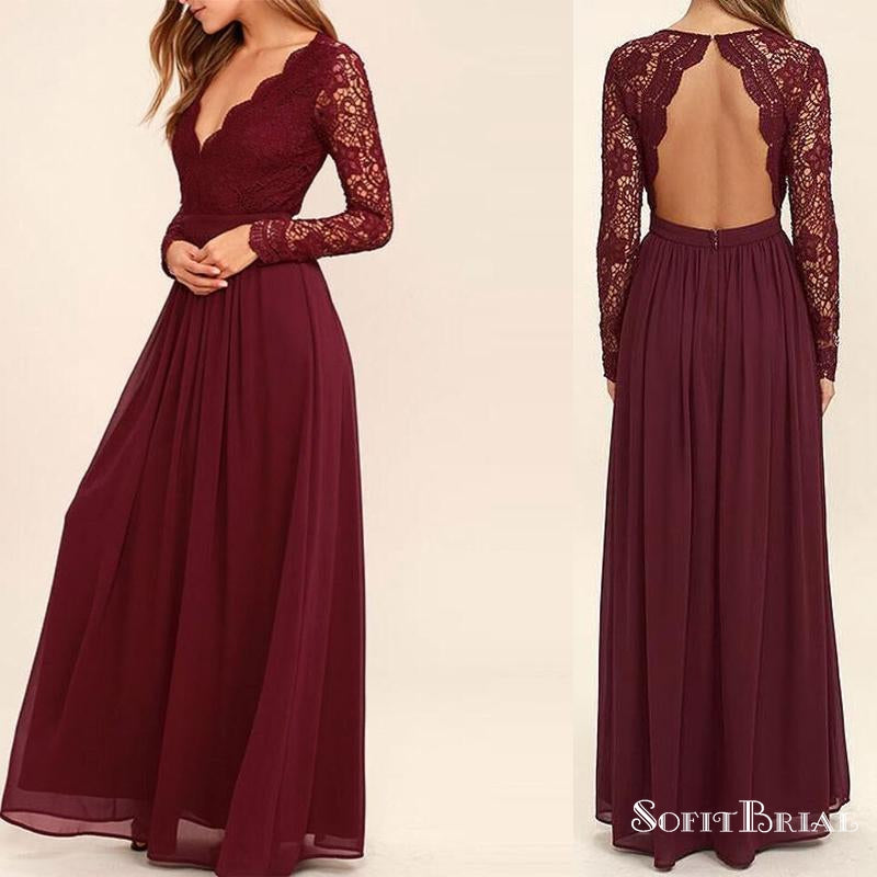 Burgundy Lace V-neck Open Back A-line Chiffon Bridesmaid Dresses, Long Sleeve Wedding Guest Dresses, PD0299 - SofitBridal