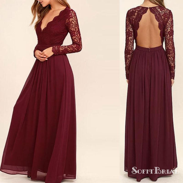 Burgundy Lace V,neck Open Back A,line Chiffon Bridesmaid Dresses, Long  Sleeve Wedding Guest Dresses, PD0299 Burgundy Lace V,neck Open Back A,line