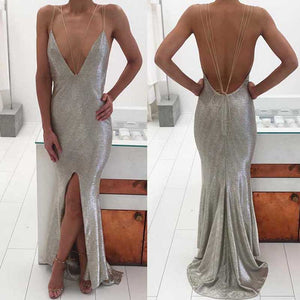Silver Spaghetti Chic Front Slit Mermaid Prom Dresses, Popular Evening Dresses, PD0305