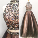 Two Pieces Rhinestone Black Tulle Gorgeous 2017 Long Prom Dresses, PD0251 - SofitBridal
