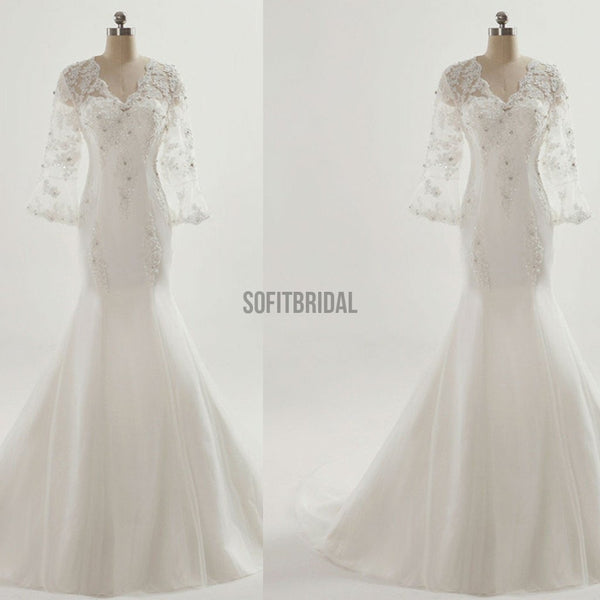 Vantage V-Neck See Through 3/4 Sleeve Mermaid Lace Beaded Wedding Dresses, WD0080 - SofitBridal