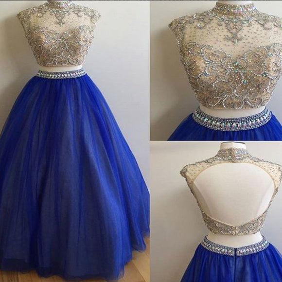 Two Pieces Rhinestone Beaded Top Long A-line Blue Tulle Prom Dresses, PD0279 - SofitBridal