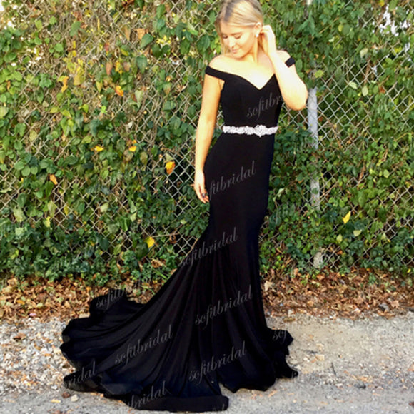 Off Shoulder Black Prom Dresses, Simple Design Prom Dresses, Popular Prom Dresses, PD0346 - SofitBridal