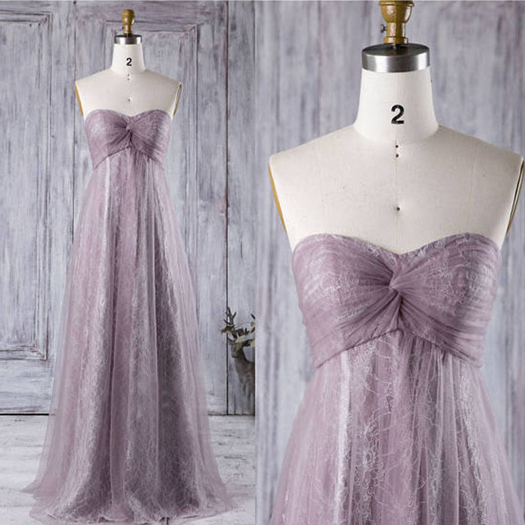 Sweetheart Light Purple Tulle Lace Bridesmaid Dresses, Cheap Wedding Guest Dresses, PD0301