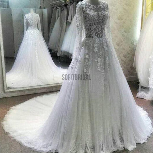 Gorgeous See Through Long Sleeve Scoop Neck Lace Tulle Wedding Dresses, WD164 - SofitBridal