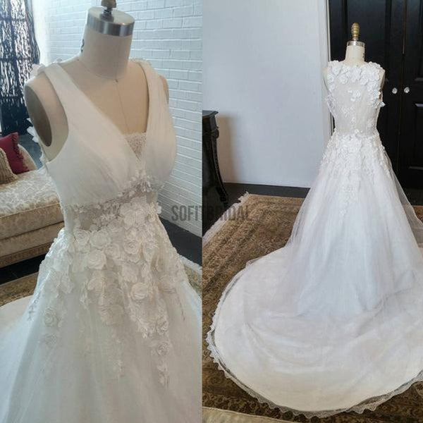 Long A-line V-Neck Sleeveless See Through Appliques Wedding Dresses, WD0201 - SofitBridal