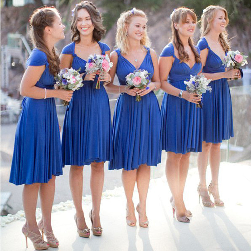 Convertible Short Royal Blue Jersey Bridesmaid dresses for Wedding Guests, WG171