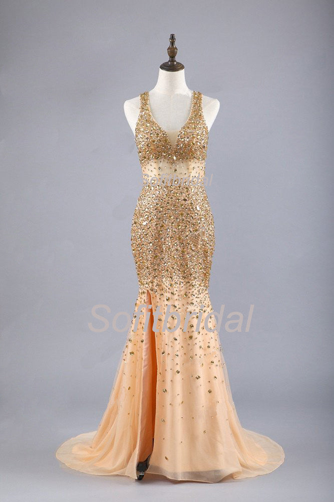 Gorgeous Sexy Gold Rhinestone Side Slit Long Prom Dresses