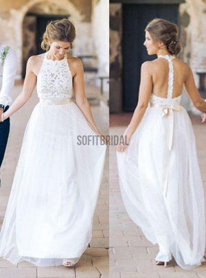 High Neck White Lace Long Sheath Simple Design White Lace Wedding Party Dresses, WD0089 - SofitBridal