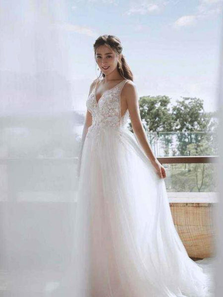 V-neck Illusion Tulle Applique Sexy Wedding Dresses With Trailing, WDY0313