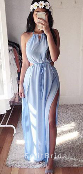 Simple A-Line Round Neck Sleeveless Chiffon Long Prom Dresses,STPD0002