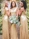 2019 Mismatched Sequin Open-back Full Gown, Bridesmaid Dress, EME0020