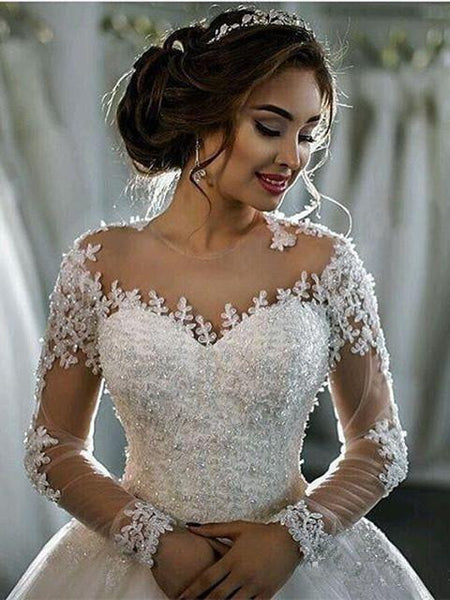 Off-shoulder Long-sleeves Applique Yarn Princess Style Elegant Wedding Dresses With Cathedral Train, WDY0318
