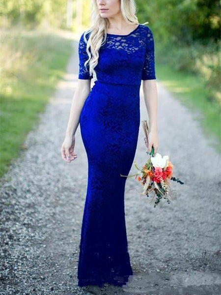 Illusion Royal Blue Velvet Half-sleeve Mermaid Button Full Gown, Bridesmaid Dresses, SEME135