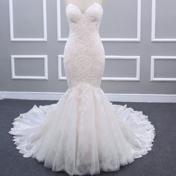 Sweetheart Long Mermaid Lace Tulle Wedding Dresses, New Arrival Wedding Dresses, PD0304