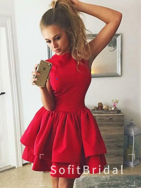 A-Line Round Neck Sleeveless Red Cheap Short Homecoming Dresses,STBD0020