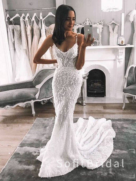 Alluring Mermaid Scoop Neckline Spaghetti Straps Lace Custom Long Wedding Dresses,STWD0020