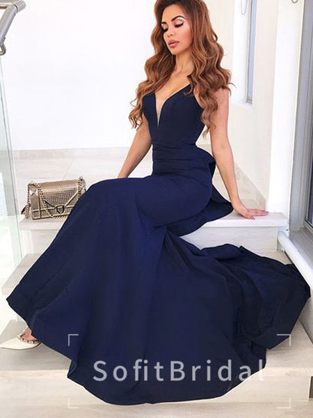 New Arrival Mermaid Deep V-Neck Spaghetti Straps Open Back Cheap Long Prom Dresses,STPD0020
