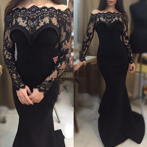Gorgeous Black Lace Off Shoulder Long Sleeve Sexy Mermaid See Through Prom Dresses, PD0215 - SofitBridal