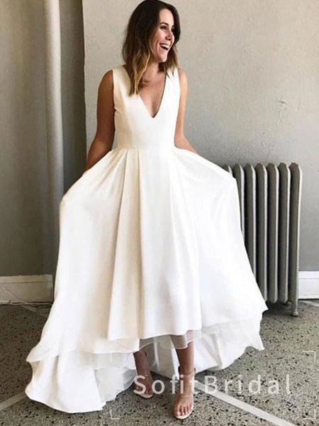 Simple A-Line Deep V-Neck Sleeveless Cheap Long Wedding Dresses Online,STWD0022
