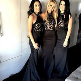 Women Black Lace Halter Mermaid Sexy Long Affordable Impressive Bridesmaid Dresses, WG25 - SofitBridal