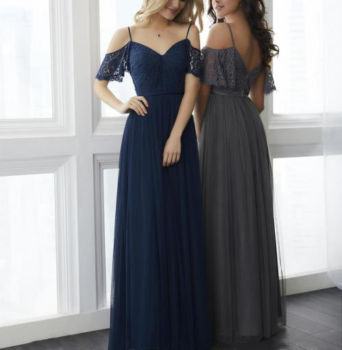 Spaghetti Off Shoulder A-line Tulle Lace Bridesmaid Dresses, Simple Prom Dresses, PD0300