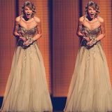 Taylor Swift Celebrity Inspired Sweetheart Gold Sequin Tulle Long Prom Dresses, PD0272 - SofitBridal