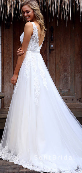 A-Line V-Neck Sleeveless Tulle White Long Wedding Dresses With Lace,STWD0024