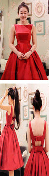 Blush red stain A-line bowknot cute unique formal freshman homecoming prom gown dress,BD0025 - SofitBridal