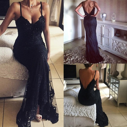 Spaghetti Black Lace Sexy V-Back Long Sheath Beaded Prom Dresses, PD0265