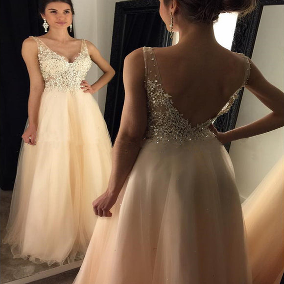 Newest 2017 V-Neck Appliques Beaded Long A-line  Tulle Prom Dresses, PD0253