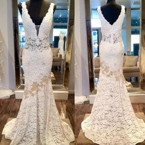 V-neck Ivory Lace Long Mermaid See Through Prom Wedding Dresses, PD0286