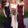 New Arrival Off Shoulder Rhinestone Beaded Mermaid Bridesmaid Prom Dresses, PD0257 - SofitBridal