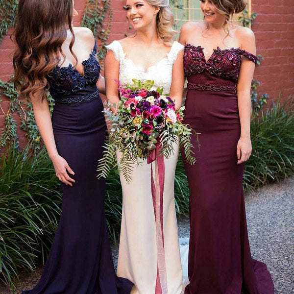 New Arrival Off Shoulder Rhinestone Beaded Mermaid Bridesmaid Prom Dresses, PD0257