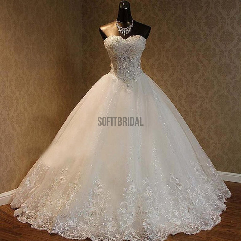Luxury Sweetheart Rhinestone Beaded White Lace Wedding Dresses, Tulle Bridal Gown, WD0025 - SofitBridal
