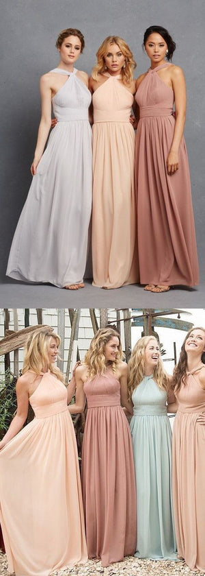 Simple Chiffon Hlater Floor-Length Cheap Free Custom Make High Quality Maxi Bridesmaid Dresses, WG28 - SofitBridal