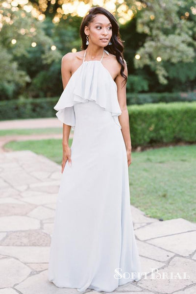 White Sleeveless Halter Open Back Chiffon Long Bridesmaid Dresses, TYP0165