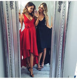 High Low V Neck Simple Cheap Short Red Homecoming Dresses Online, CM535