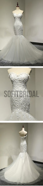 Sweetheart Lace Sexy Mermaid Lace Up Tulle Wedding Party Dresses, WD0028 - SofitBridal