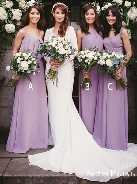 A-Line V-Neck Floor Length Purple Chiffon Bridesmaid Dresses with Ruffles, TYP0249