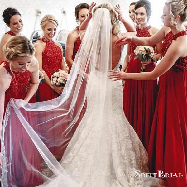 A-Line Halter Long Red Bridesmaid Dresses with Appliques&Beaded, TYP0139