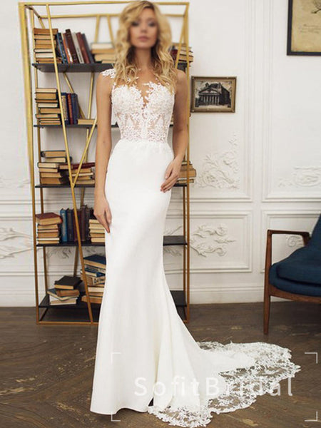 See Through Mermaid Round Neck Sleeveless Long Wedding Dresses With Lace,STWD0028