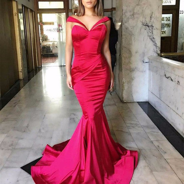 Newest Hot Pink Satin Long Mermaid Special Design Long Prom Dresses, PD0291 - SofitBridal