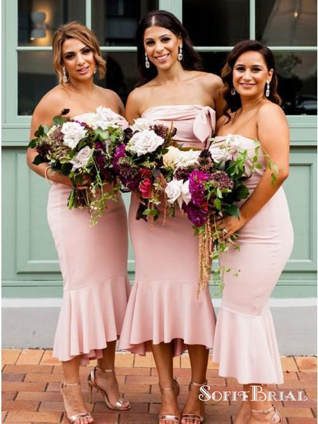 Pink Strapless Sleeveless High Low Mermaid Satin Bridesmaid Dresses, TYP0189